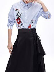 Mujer Tejido Oriental Casual/Diario Primavera Camisa,Escote Chino A Rayas Manga Larga Algodón Azul Medio