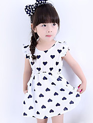 Girl's Going out Print Dress,Cotton Summer Black / Red