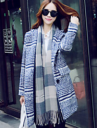 Women's Casual/Daily Simple Coat,Striped Long Sleeve Winter Blue / Red / White / Brown Wool / Polyester