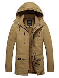 Men's Long Padded Coat,Vintage Casual/Daily Solid-Cotton Without Filling Material Long Sleeves Hooded