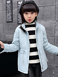 Girl's Casual/Daily Solid Trench Coat,Rayon Winter Blue / Pink