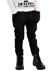Boy's Cotton Fashion Simple Style Spring/Fall Casual/Daily Black Solid Color Casual Long Pants