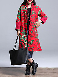Women's Long Padded Coat,Vintage Plus Size / Casual/Daily Floral-Cotton Polyester Long Sleeve Stand Red