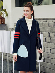 Women's Casual/Daily Simple Coat,Solid Long Sleeve Blue Polyester