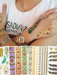 4 Tatuagem Adesiva Séries de Jóias / Séries Flores / Séries Totem / Série românticaNon Toxic / Estampado / Tribal / Hawaiian / Lombar /