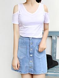 Damen Solide Einfach Ausgehen / Lässig/Alltäglich T-shirt,V-Ausschnitt Alle Saisons Kurzarm Weiß Baumwolle Mittel