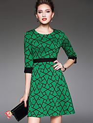 Gaine Robe Femme Sortie Grandes Tailles Vintage simple,Géométrique Col Arrondi Au dessus du genou Manches ¾ Vert Polyester AutomneTaille