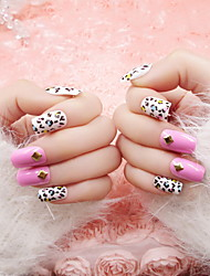 Nail A Piece Of Finished Products The Bride Fake Nails Fake Nails Pink Leopard Print Patch Nail 24 Pieces Finished