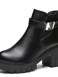 Winter Fashion Women's Boots Comfort PU Casual Wedge Heel Buckle Split Joint Black Gray