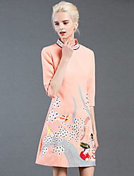 GATHER BEAUTY Women's Going out Cute A Line DressEmbroidered Turtleneck Above Knee  Length Sleeve Pink Cotton / Polyester Fall Mid Rise Inelastic