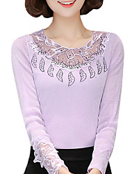 Spring Fall Women's Plus Size Go out Simple Solid Color Patchwork Net yarn  Round Neck Long Sleeve Lace Blouse