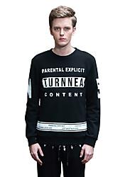 Sweatshirt Pour des hommes A Motifs / Lettre Décontracté Coton Manches longues Noir