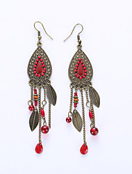 Europe And The United States Leaves Eardrop Fashion Retro Metal Earrings Female Foreign National Style Tassel Earrings