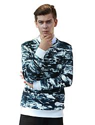 Sweatshirt Pour des hommes A Motifs / Camouflage Décontracté Coton Manches longues Blanc