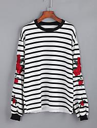 Damen Gestreift Street Schick Lässig/Alltäglich T-shirt,Rundhalsausschnitt Herbst Langarm Weiß / Schwarz Baumwolle Mittel