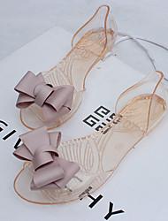 Feminino-Sandálias-Conforto-Rasteiro Heel translúcido-Preto Vermelho Dourado-Borracha-Casual