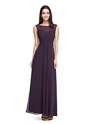 2017 lanting bride® cheville mousseline voir à travers la robe de demoiselle d'honneur - une ligne de bateau avec drapage latéral