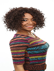 Fashion Style Afro Curly Wave Brown Color Synthetic Wigs for Women