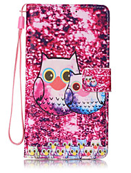 for HuaWei P9 lite Lovely Owl Pattern PU Leather Lanyard phone Case