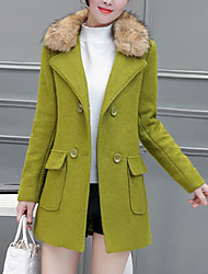Women's Going out / Work Punk & Gothic / Sophisticated CoatSolid Notch Lapel Long Sleeve Fall / Winter Green /