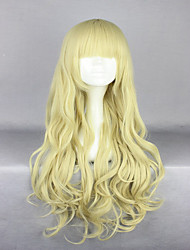 Newly Brilliant Soft Gold Long Deep Wave Pretty Full  Bangs Active Lolita Wig