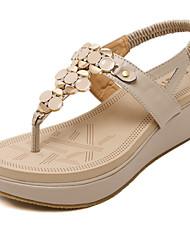Women's Sandals Spring / Summer / Fall Platform Dress / Casual Wedge Heel Applique / Slip-on Black / Almond Walking