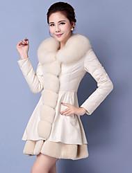 Women's Long Padded Coat,Simple Plus Size Solid-Cotton Polypropylene Long Sleeve Hooded White / Black / Purple