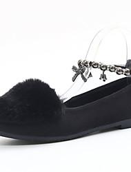 Women's Flats Winter Comfort PU Fur Casual Flat Heel Bowknot Black Gray Walking