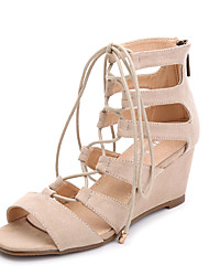 Women's Sandals Spring / Summer / Fall Ankle Strap Fleece Dress / Casual Wedge Heel Zipper / Hollow-out Black / Brown / Pink Others