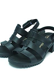Feminino-Sandálias-Chanel-Salto Grosso-Preto / Azul-PVC-Casual