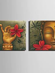 Холст Set Люди / Цветочные мотивы/ботанический Европейский стиль,2 панели Холст Квадратная Печать Искусство Декор стены For Украшение дома