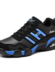 Feminino-Tênis-MaryJane-Rasteiro-Azul Preto e Vermelho Preto e Branco-Couro Ecológico-Ar-Livre Para Esporte