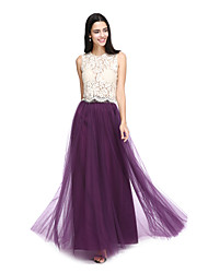Lanting Bride® Floor-length Lace / Tulle See Through Bridesmaid Dress - A-line Jewel with Lace