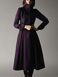 CHOCOLATONE Women's Casual/Daily Simple Loose DressSolid Turtleneck Knee-length Long Sleeve Purple Wool