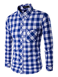 Men's Casual/Daily / Formal Simple Spring / Fall Shirt,Color Block Standing Collar Long Sleeve Blue / White Cotton Medium