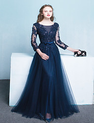 A-line Mother of the Bride Dress Sweep / Brush Train 3/4 Length Sleeve Tulle with Sash / Ribbon