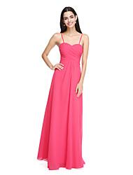 2017 lanting parole longueur bride® mousseline élégante robe de demoiselle d'honneur - bretelles spaghetti avec croix criss