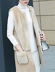Women's Casual/Daily Simple Fur Coat,Solid / Patchwork Round Neck Sleeveless Fall / Winter Beige Rabbit Fur / Faux Fur