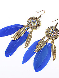 Women Fashion Bohemian Vintage Leaves Flowers Feather Tassel Drop Earrings