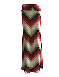 Women's Color Block Blue Skirts,Plus Size / Holiday Maxi