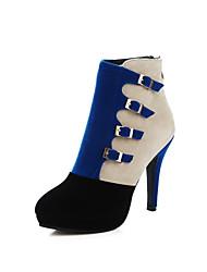 Damen-Stiefel-Kleid Lässig-Samt-Stöckelabsatz-Gladiator-Schwarz Blau Rot