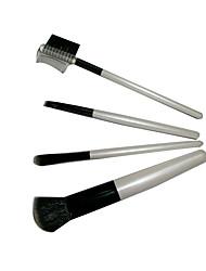 4 Makeup Brushes Set Nylon Portable Wood Face