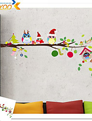 Merry ChristmasOwl Tree Wall Stickers for Kids Room 1013 Removable Pvc Holiday Home Decoration 3D Animal Wall Decals