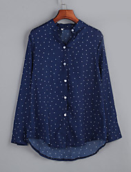 Women's  Fall BlousePolka Dot Shirt Collar Long Sleeve Polyester Medium
