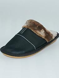 Masculino-Chinelos e flip-flops-Chanel-Rasteiro-Preto-Pele-Casual