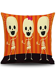 Halloween Three Cute Skull Square Linen  Decorative Throw Pillow Case Cushion Cover
