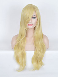 Long Body Wave Natural Looking Daily Wearing Synthetic Wigs High Tempurature Lolita Fashion Hairstyle Golden Yellow Color Wig