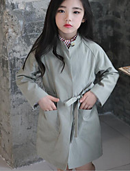 Girl's Casual/Daily Solid Trench CoatPolyester Fall Green