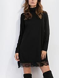 Women's Casual/Daily Simple Sheath DressSolid Turtleneck Above Knee Long Sleeve Black