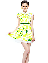 Women's Plus Size /Street chic Sheath DressFloral Square Neck Above Knee Short Sleeve Green Polyester